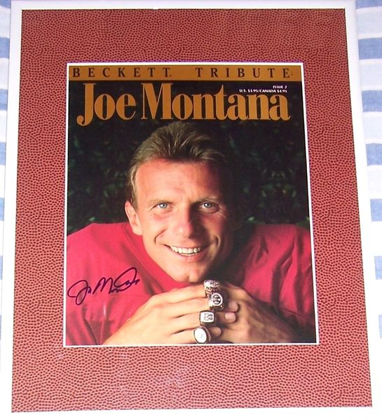 Joe Montana autographed San Francisco 49ers Beckett Tribute cover matted & framed
