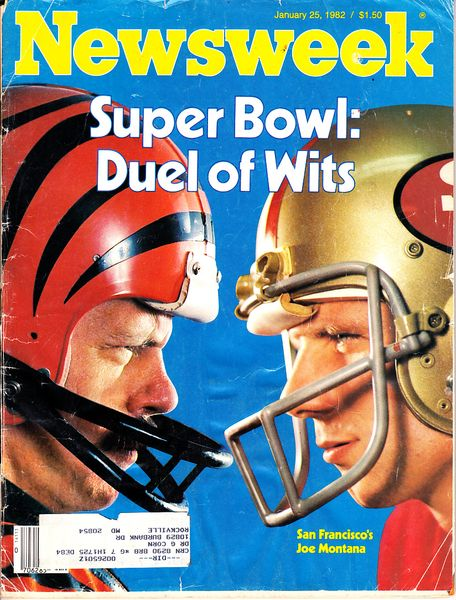 Joe Montana & Ken Anderson Super Bowl 16 1982 Newsweek magazine