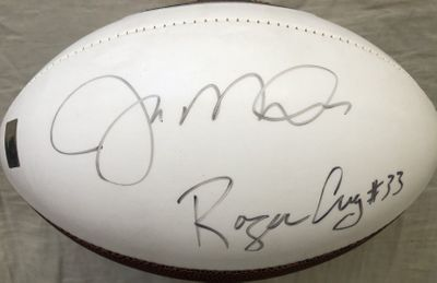 Joe Montana and Roger Craig autographed San Francisco 49ers logo white panel football