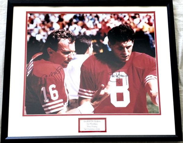 Joe Montana and Steve Young autographed San Francisco 49ers 16x20 poster size photo matted and framed