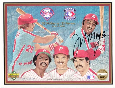 Joe Morgan autographed 1993 Upper Deck 1983 Philadelphia Phillies 10th Anniversary card sheet