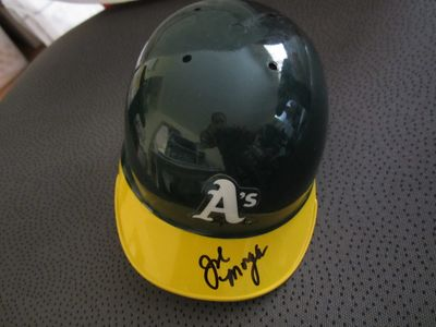 Joe Morgan autographed Oakland A's mini batting helmet