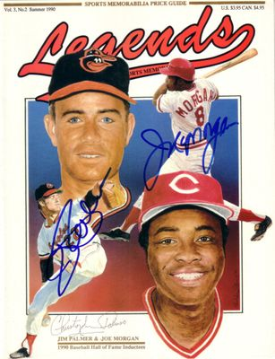 Joe Morgan and Jim Palmer autographed Baseball Hall of Fame 1990 Legends magazine cover