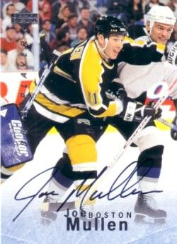 Joe Mullen certified autograph Boston Bruins 1996 Be A Player card