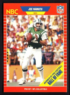 Joe Namath New York Jets 1989 Pro Set Announcers card