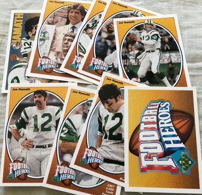 Joe Namath 1991 Upper Deck Football Heroes near complete insert card set
