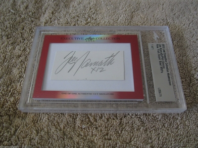 Joe Namath and Phil Simms 2015 Leaf Masterpiece Cut Signature certified autograph card 1/1 JSA