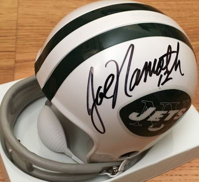 Joe Namath autographed New York Jets Riddell throwback mini helmet