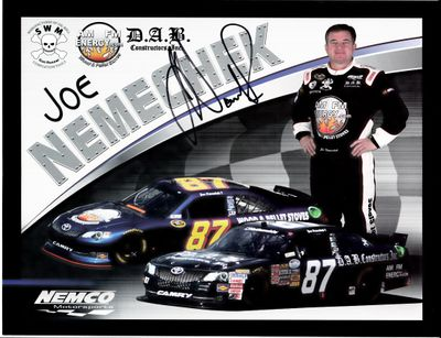Joe Nemechek autographed NEMCO Motorsports NASCAR 8x11 photo card