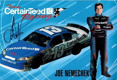 Joe Nemechek autographed CertainTeed Racing NASCAR 8x12 photo card