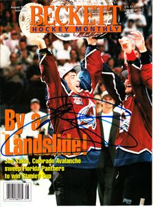 Joe Sakic autographed Colorado Avalanche 1996 Stanley Cup Beckett Hockey magazine