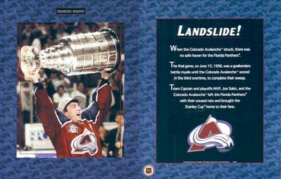Joe Sakic Colorado Avalanche 1996 Stanley Cup 8x10 celebration photo