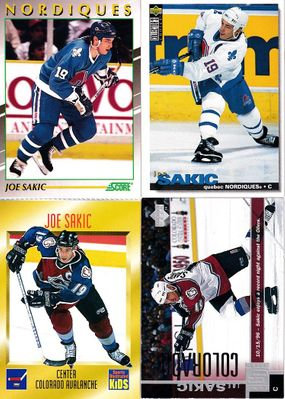 Joe Sakic lot of 4 NHL Hockey cards 1991 Score Young Superstars 1996 Sports Illustrated for Kids