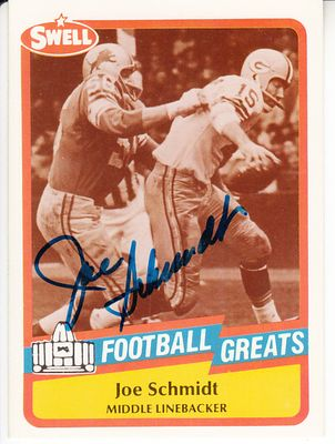 Joe Schmidt autographed 1989 Swell Football Greats Pro Football Hall of Fame card