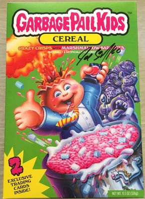 Joe Simko autographed Garbage Pail Kids full cereal box with 2 cards inside