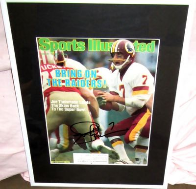 Joe Theismann autographed Washington Redskins 1984 Sports Illustrated cover matted and framed