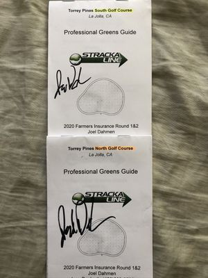 Joel Dahmen autographed 2020 Farmers Insurance Open set of 2 tournament used greens guides