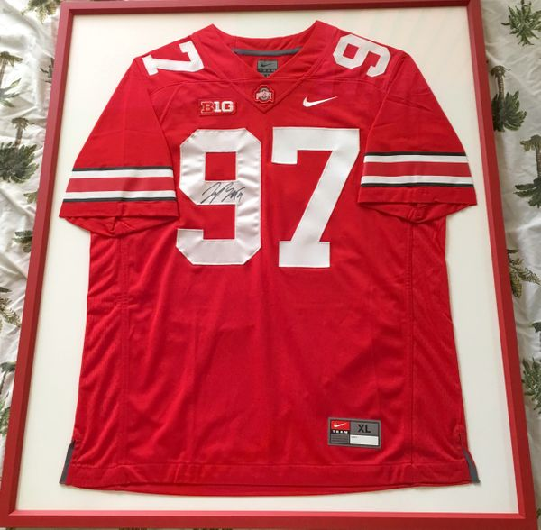 Joey Bosa autographed Ohio State Buckeyes authentic Nike stitched red jersey matted and framed