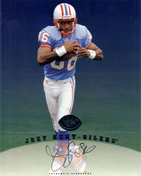 Joey Kent certified autograph Tennessee Oilers 1997 Leaf 8x10 photo card
