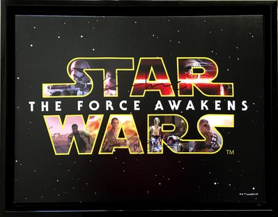 John Boyega and Oscar Isaac autographed Star Wars The Force Awakens movie logo 14x18 inch canvas framed