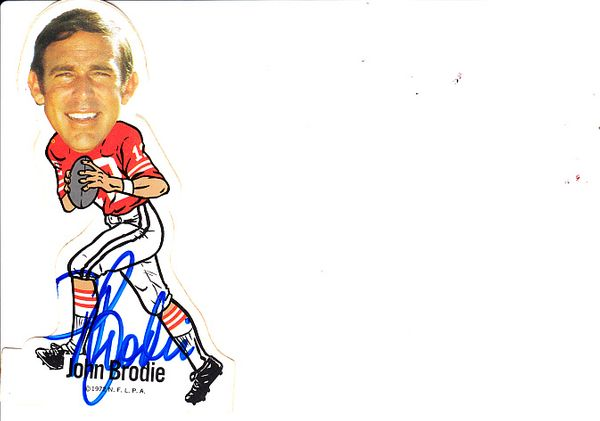John Brodie autographed San Francisco 49ers 1972 NFLPA vinyl decal or sticker