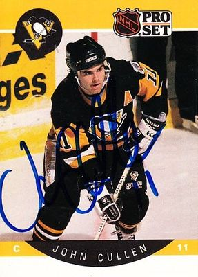 John Cullen autographed Pittsburgh Penguins 1990-91 Pro Set card