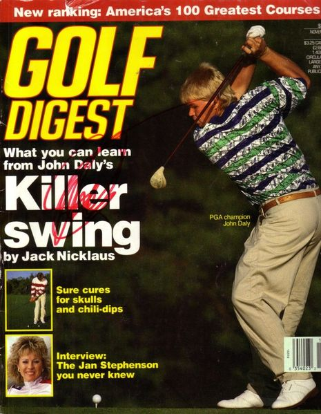 John Daly autographed 1991 Golf Digest magazine cover