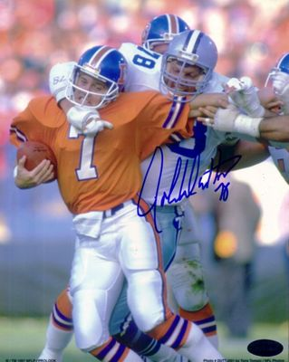 John Dutton autographed Dallas Cowboys 8x10 photo sacking John Elway