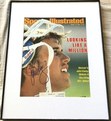 John Elway autographed Denver Broncos 1983 Sports Illustrated cover matted and framed