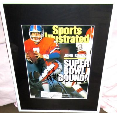 John Elway autographed Denver Broncos 1988 Sports Illustrated cover matted and framed