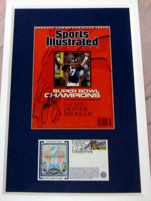John Elway autographed Denver Broncos Sports Illustrated Presents cover framed with Super Bowl 32 cachet