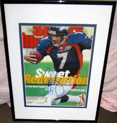John Elway autographed Denver Broncos Super Bowl 32 Sports Illustrated cover matted and framed