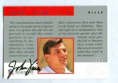 John Fina Buffalo Bills certified autograph 1992 Pro Line card