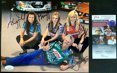 Ashley Brittany Courtney and John Force autographed 8x10 NHRA photo (JSA)
