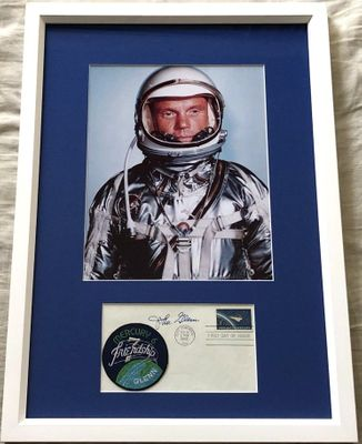John Glenn autographed 1962 NASA Project Mercury First Day Cover matted and framed with 8x10 photo (JSA)