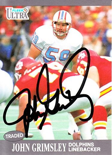 John Grimsley autographed Houston Oilers 1991 Ultra card