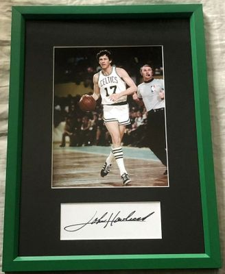 John Havlicek autograph matted and framed with Boston Celtics 8x10 photo