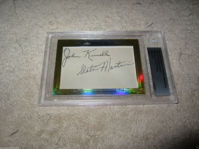 John Kundla and Slater Martin 2014 Leaf Masterpiece Cut Signature certified autograph card 1/1 Lakers