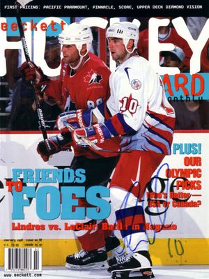 John LeClair autographed 1998 USA Hockey magazine cover