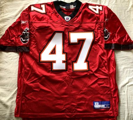 John Lynch Tampa Bay Buccaneers authentic Reebok red stitched jersey (flawed)