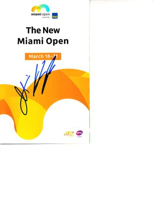 John Peers autographed 2019 Miami Open tennis tournament map and program