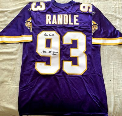 John Randle autographed Minnesota Vikings authentic Reebok stitched jersey inscribed 1990's All Decade Team (Schwartz Sports)