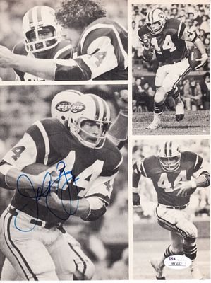 John Riggins autographed New York Jets magazine photo page (JSA)
