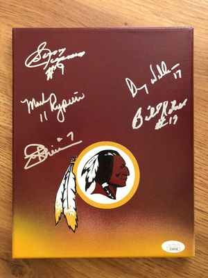 Sonny Jurgensen Billy Kilmer Mark Rypien Joe Theismann Doug Williams autographed Washington Redskins 8x10 canvas (JSA)