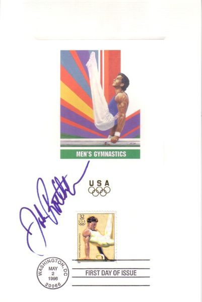 John Roethlisberger autographed gymnastics 1996 U.S. Olympic Team USPS 6x9 proof card with First Day of Issue cancellation