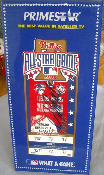 John Smoltz autographed 1996 MLB All-Star Game ticket with display holder