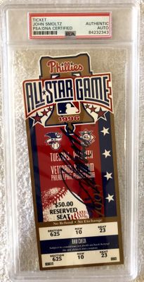 John Smoltz autographed 1996 MLB All-Star Game ticket PSA/DNA slabbed