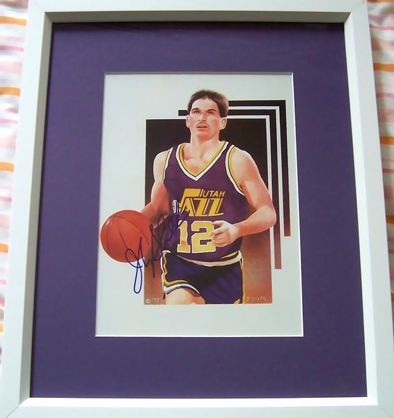 John Stockton autographed Utah Jazz 8x10 art print matted and framed