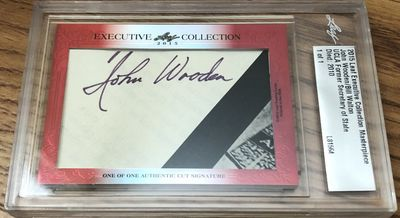 John Wooden and Bill Walton 2015 Leaf Masterpiece Cut Signature certified autograph card 1/1 JSA
