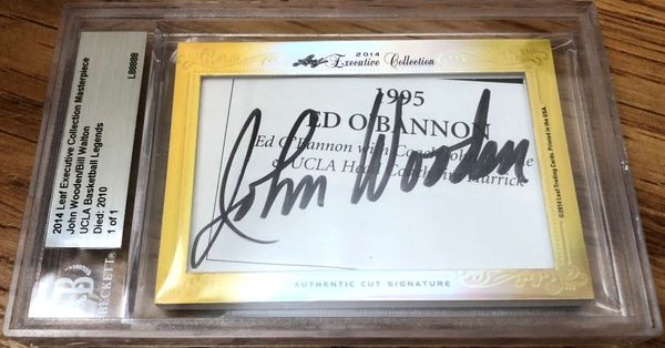 John Wooden and Bill Walton 2014 Leaf Masterpiece Cut Signature certified autograph card 1/1 JSA